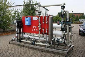 Lebensmittelindustrie, Herstellung von Milchprodukten. Baujahr: 2010. Leistungsvermögen: 20 m3 / h. Besonderheiten: spezielle Anforderungen an das Industriewasser sehr beengte Platzverhältnisse.